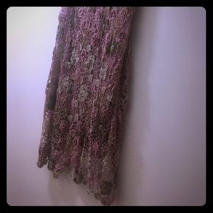 Dresses & Skirts - Pink Skirt With Crocheted Beaded Layer